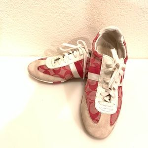 Coach Pink Suede Signature Sneakers. Size 8.5